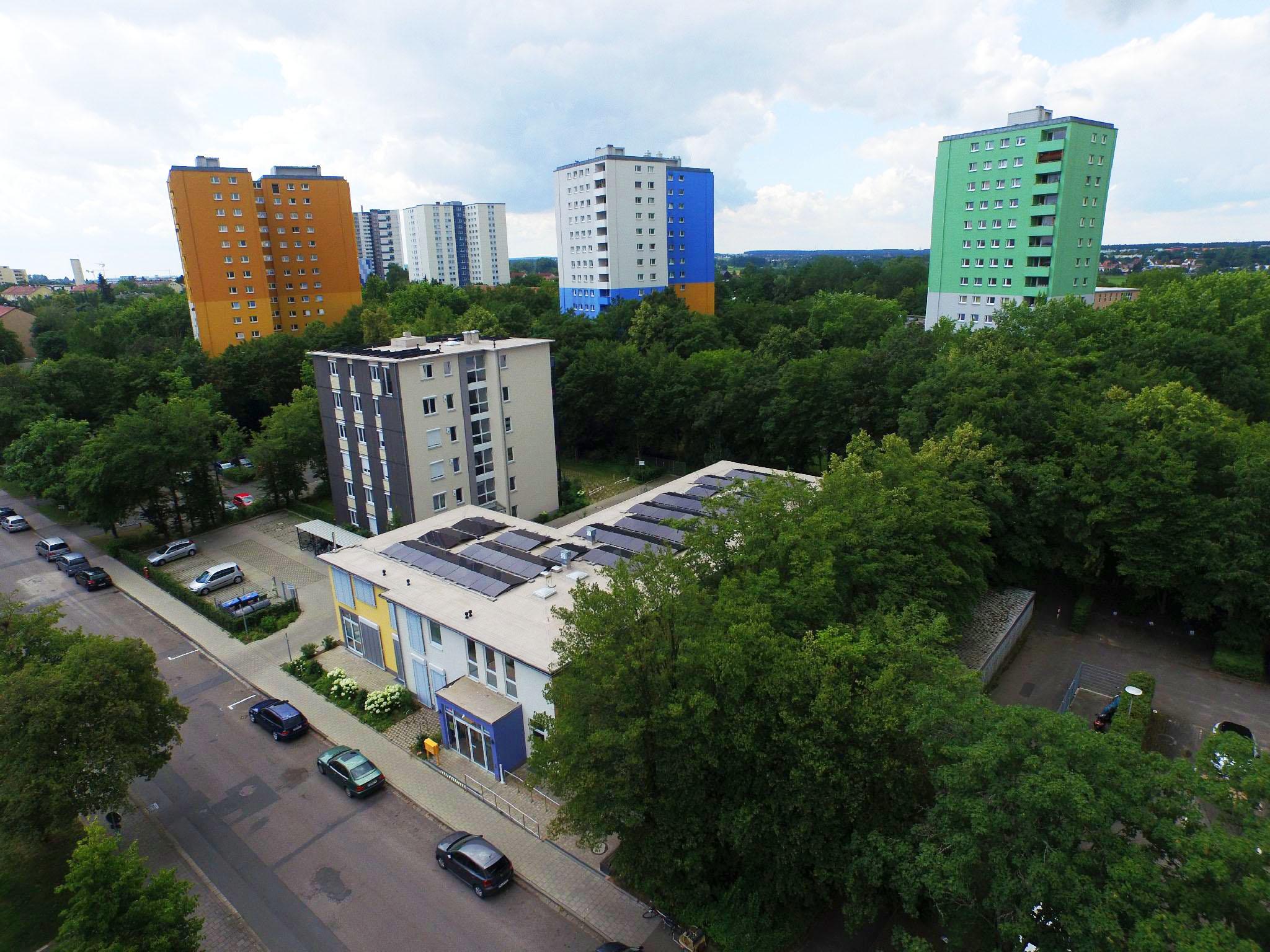 Stadtteilhaus und Bürgertreff aus der Luft