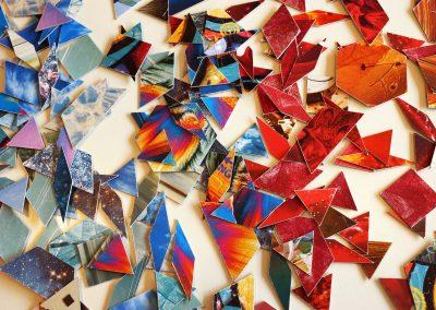 Die Mosaikteile für die Collage