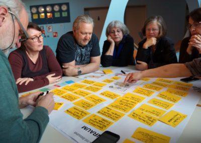 Bürgerinnen und Bürger sitzen um Ausschnitt der Planskizze mit vielen Anmerkungen auf Post its gruppiert.